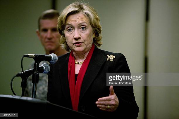 S Secretary of State Hillary Clinton speaks during a press conference as US General Stanley McChrystal head of the US and NATO forces in Afghanistan...