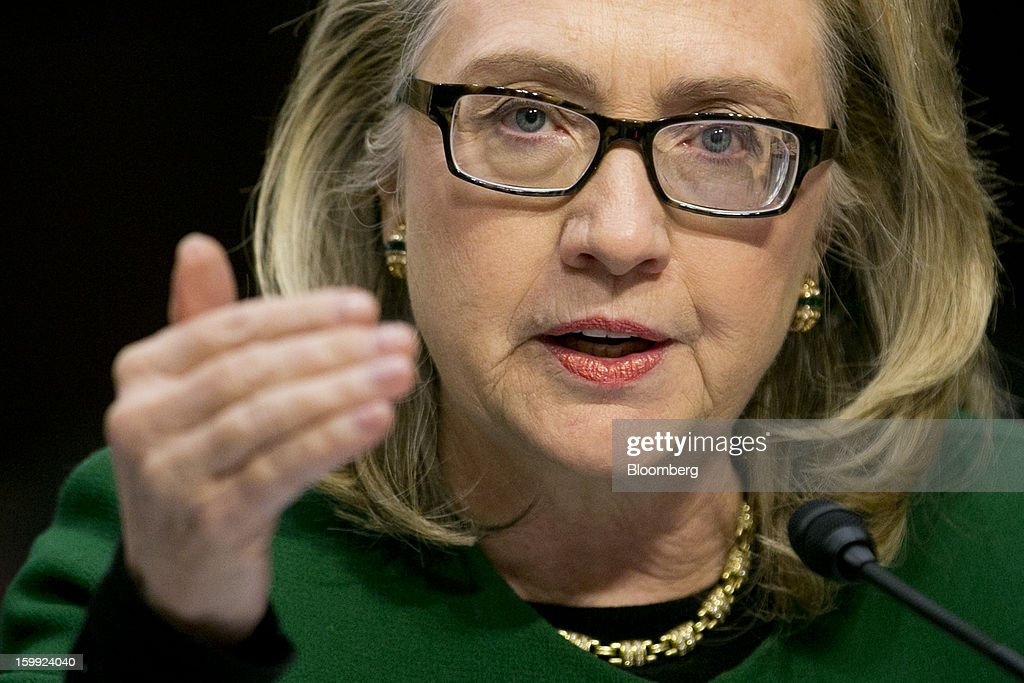 U.S. Secretary of State <a gi-track='captionPersonalityLinkClicked' href=/galleries/search?phrase=Hillary+Clinton&family=editorial&specificpeople=76480 ng-click='$event.stopPropagation()'>Hillary Clinton</a>, speaks during a Senate Foreign Relations Committee hearing in Washington, D.C., U.S., on Wednesday, Jan. 23, 2013. Clinton said she is moving quickly to correct the kinds of lapses in diplomatic security that left American diplomats vulnerable in the September attack on the U.S. mission in Benghazi, Libya. Photographer: Andrew Harrer/Bloomberg via Getty Images