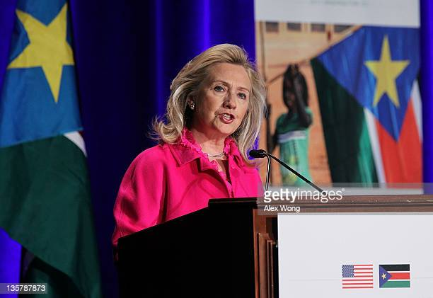 S Secretary of State Hillary Clinton speaks during the South Sudan International Engagement Conference December 14 2011 at the Marriott Wardman Park...