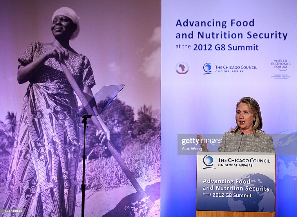 U.S. Secretary of State <a gi-track='captionPersonalityLinkClicked' href=/galleries/search?phrase=Hillary+Clinton&family=editorial&specificpeople=76480 ng-click='$event.stopPropagation()'>Hillary Clinton</a> speaks during the Symposium on Global Agriculture and Food Security May 18, 2012 at the Ronald Reagan Building in Washington, DC. The symposium, hosted by the Chicago Council on Global Affairs, in collaboration with the World Economic Forum, was to discuss new activities to advance global agricultural development, food and nutrition security in Africa.