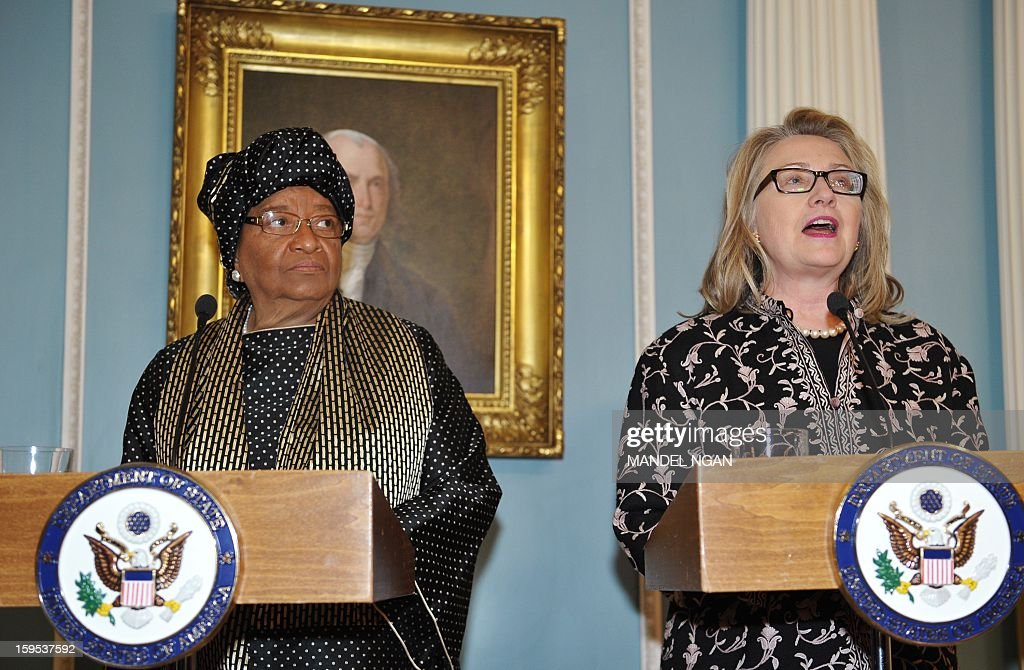 US Secretary of State Hillary Clinton (R) speaks following a bilateral meeting with Liberian President Ellen Sirleaf Johnson (L) on January 15, 2013 at the State Department in Washington, DC. AFP PHOTO/Mandel NGAN