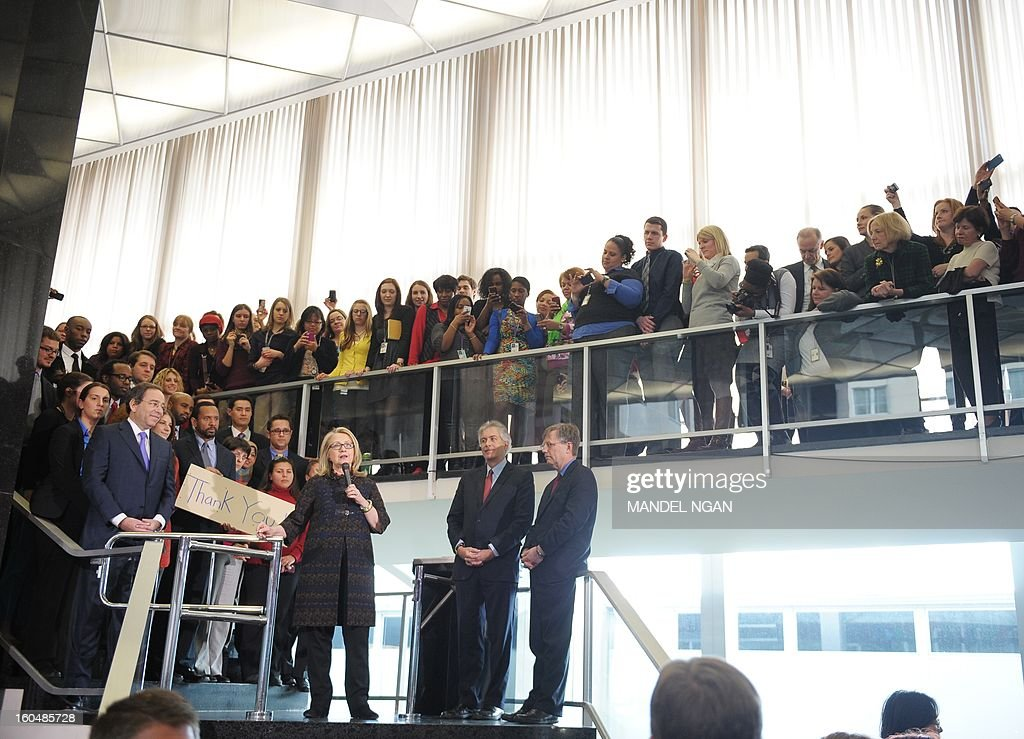 US Secretary of State Hillary Clinton speaks to State Department employees on February 1, 2013 in Washington, DC. Clinton bid a final farewell to her staff Friday, but her last day was marred by a suicide bomber blew himself up at the US embassy in Ankara. AFP PHOTO/Mandel NGAN
