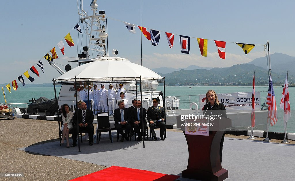 US Secretary of State Hillary Clinton speaks while attending a Coast Guard ship commissioning ceremony at the passenger terminal wharf in the Georgia's Black Sea port of Batumi, on June 5, 2012. The Soviet-designed boat, which will patrol the eastern end of the Black Sea, was commissioned into the Georgian Coast Guard after a refurbishment with the latest technology, using funds provided by the US State Department Export Border Control and Related Security Program.
