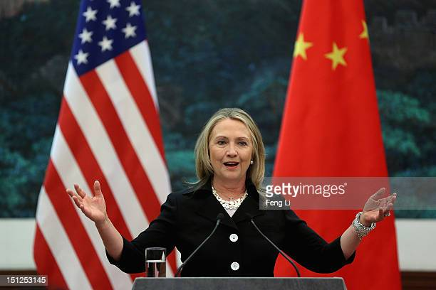 S Secretary of State Hillary Clinton talks during a press conference at the Great Hall of the People on September 5 2012 in Beijing China Secretary...