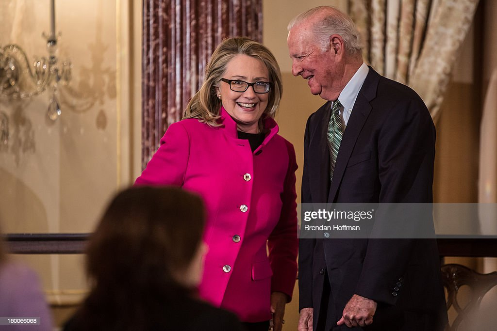 Secretary of State <a gi-track='captionPersonalityLinkClicked' href=/galleries/search?phrase=Hillary+Clinton&family=editorial&specificpeople=76480 ng-click='$event.stopPropagation()'>Hillary Clinton</a> (L) talks with former Secretary of State James Baker at an event launching the Diplomacy Center on January 25, 2013 in Washington, DC. The center will serve as a museum of diplomacy, housed at the Department of State.
