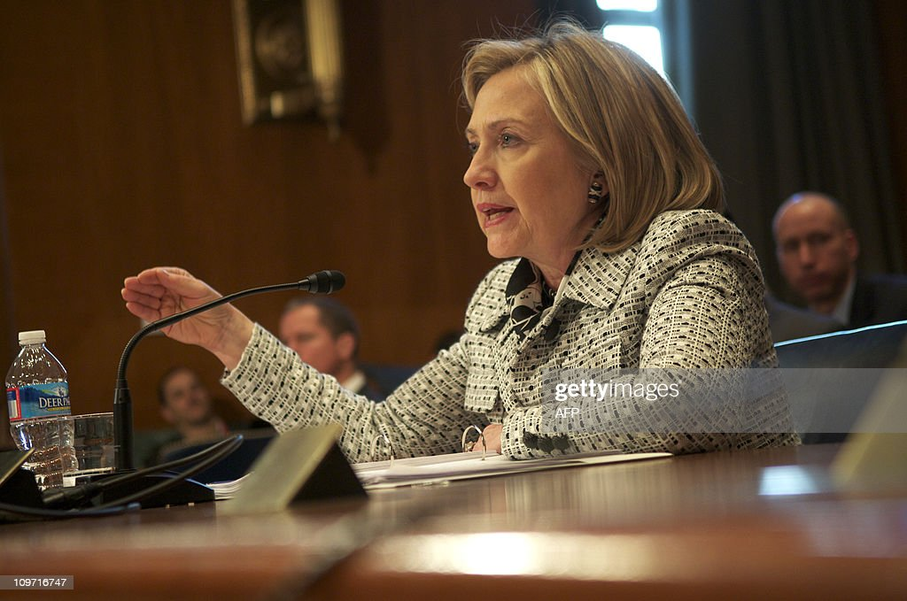 US Secretary of State Hillary Clinton testifies before a Senate Appropriations Committee; State, Foreign Operations, and Related Programs Subcommittee hearing on the budget for the State Department in the Dirksen Senate Office Buildingon Capitol Hill in Washington, DC, March 2, 2011.