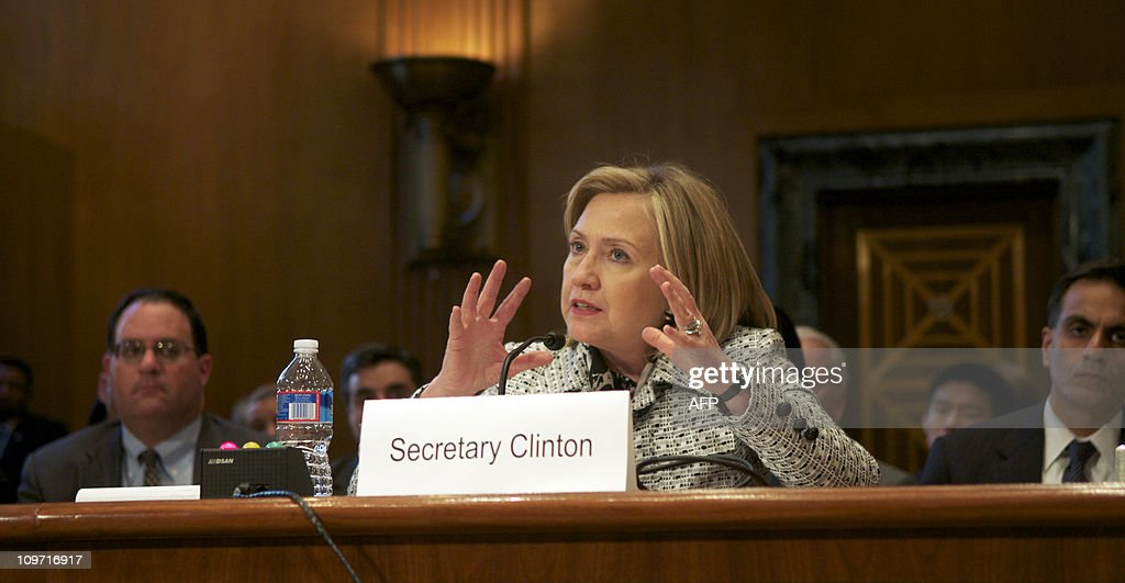 US Secretary of State <a gi-track='captionPersonalityLinkClicked' href=/galleries/search?phrase=Hillary+Clinton&family=editorial&specificpeople=76480 ng-click='$event.stopPropagation()'>Hillary Clinton</a> testifies before a Senate Appropriations Committee; State, Foreign Operations, and Related Programs Subcommittee hearing on the budget for the State Department in the Dirksen Senate Office Buildingon Capitol Hill in Washington, DC, March 2, 2011.