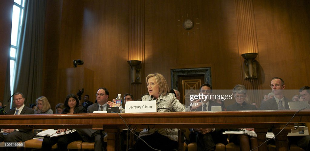 US Secretary of State <a gi-track='captionPersonalityLinkClicked' href=/galleries/search?phrase=Hillary+Clinton&family=editorial&specificpeople=76480 ng-click='$event.stopPropagation()'>Hillary Clinton</a> testifies before a Senate Appropriations Committee; State, Foreign Operations, and Related Programs Subcommittee hearing on the budget for the State Department in the Dirksen Senate Office Buildingon Capitol Hill in Washington, DC, March 2, 2011. AFP PHOTO / ROD LAMKEY JR