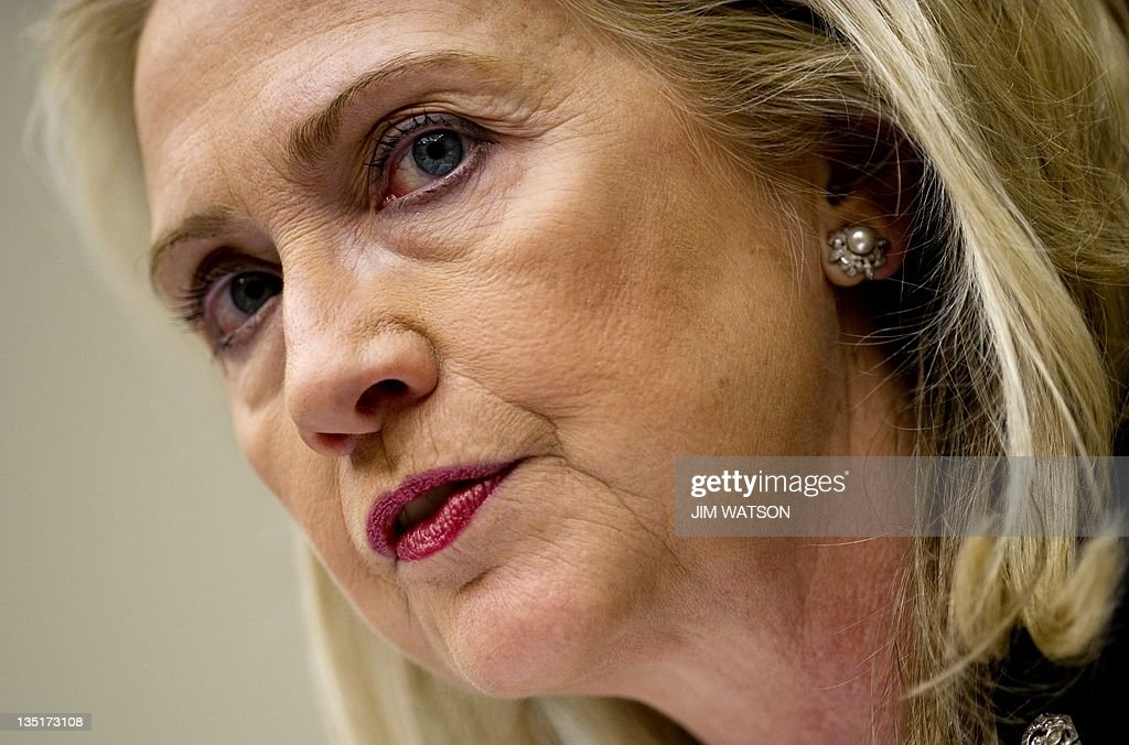 US Secretary of State <a gi-track='captionPersonalityLinkClicked' href=/galleries/search?phrase=Hillary+Clinton&family=editorial&specificpeople=76480 ng-click='$event.stopPropagation()'>Hillary Clinton</a> testifies before the House Foreign Affairs Committee on Capitol Hill in Washington, DC, October 27, 2011. Clinton on Thursday renewed her call on Pakistan to close safe havens for militants, saying the uneasy partner must be 'unequivocal' in its approach. Testifying before Congress after a trip to the region, Clinton said she delivered a 'frank' message to Pakistan that it was urgent to act against the extremist Haqqani network, which she blamed for anti-US attacks in Afghanistan. AFP PHOTO/Jim WATSON