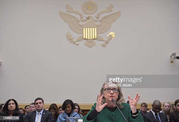 US Secretary of State Hillary Clinton testifies before the House Foreign Affairs Committee on the September 11 2012 attack on the US mission in...