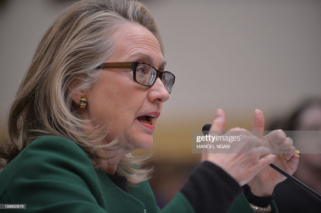 US Secretary of State <a gi-track='captionPersonalityLinkClicked' href=/galleries/search?phrase=Hillary+Clinton&family=editorial&specificpeople=76480 ng-click='$event.stopPropagation()'>Hillary Clinton</a> testifies before the House Foreign Affairs Committee on the September 11, 2012 attack on the US mission in Benghazi, Libya in the Rayburn House Office Building on January 23, 2013 in Washington, DC. AFP PHOTO/Mandel NGAN