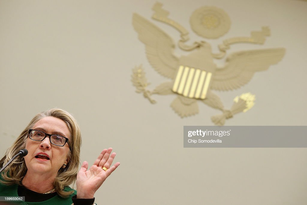 U.S. Secretary of State <a gi-track='captionPersonalityLinkClicked' href=/galleries/search?phrase=Hillary+Clinton&family=editorial&specificpeople=76480 ng-click='$event.stopPropagation()'>Hillary Clinton</a> testifies before the House Foreign Affairs Committee about the September 11 attacks against the U.S. mission in Benghazi, Libya, on Capitol Hill January 23, 2013 in Washington, DC. Lawmakers questioned Clinton about the security failures that led to the death of four Americans, including U.S. Ambassador Christopher Stevens.
