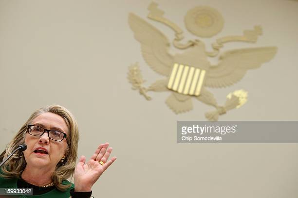 S Secretary of State Hillary Clinton testifies before the House Foreign Affairs Committee about the September 11 attacks against the US mission in...