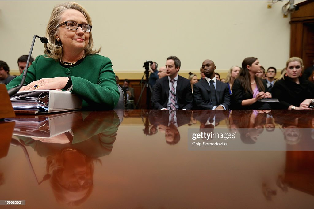 U.S. Secretary of State <a gi-track='captionPersonalityLinkClicked' href=/galleries/search?phrase=Hillary+Clinton&family=editorial&specificpeople=76480 ng-click='$event.stopPropagation()'>Hillary Clinton</a> testifies before the House Foreign Affairs Committee on Capitol Hill January 23, 2013 in Washington, DC. Lawmakers questioned Clinton about the security failures during the September 11 attacks against the U.S. mission in Benghazi, Libya, that led to the death of four Americans, including U.S. Ambassador Christopher Stevens.