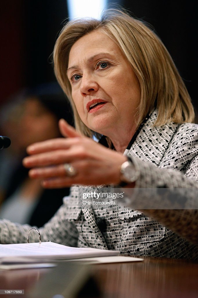 Secretary of State <a gi-track='captionPersonalityLinkClicked' href=/galleries/search?phrase=Hillary+Clinton&family=editorial&specificpeople=76480 ng-click='$event.stopPropagation()'>Hillary Clinton</a> testifies before the Senate Appropriations Subcommittee on State, Foreign Operations, and Related Programs about the department's FY2012 budget on Capitol Hill March 2, 2011 in Washington, DC. Clinton reminded senators that civilians from the State Department will need appropriate budget increases so to take over the U.S. mission in Iraq after the Department of Defense pulls out the last troops at the end of 2011.
