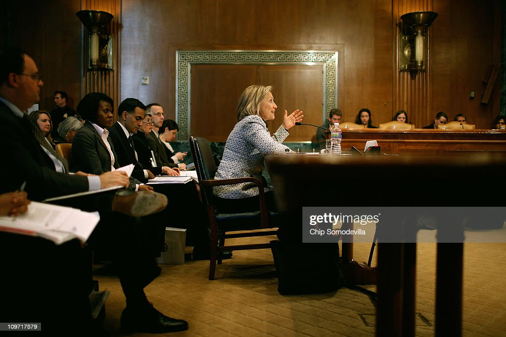 Secretary of State Hillary Clinton testifies before the Senate Appropriations Subcommittee on State, Foreign Operations, and Related Programs about the department's FY2012 budget on Capitol Hill March 2, 2011 in Washington, DC. Clinton reminded senators that civilians from the State Department will need appropriate budget increases so to take over the U.S. mission in Iraq after the Department of Defense pulls out the last troops at the end of 2011.