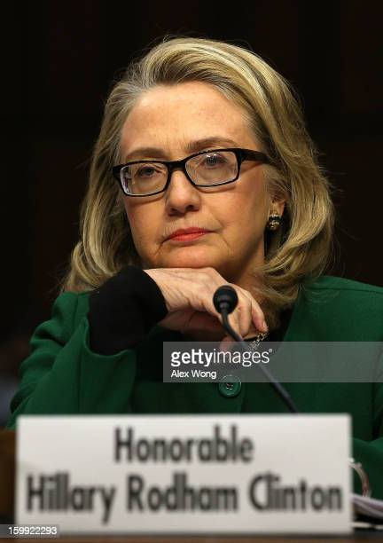 S Secretary of State Hillary Clinton testifies before the Senate Foreign Relations Committee on Capitol Hill January 23 2013 in Washington DC...