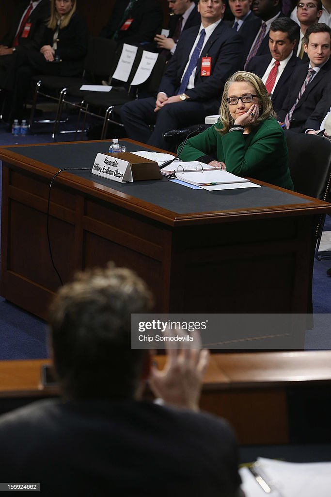 U.S. Secretary of State Hillary Clinton testifies before the Senate Foreign Relations Committee on Capitol Hill January 23, 2013 in Washington, DC. Lawmakers questioned Clinton about the security failures during the September 11 attacks against the U.S. mission in Benghazi, Libya, that led to the death of four Americans, including U.S. Ambassador Christopher Stevens.
