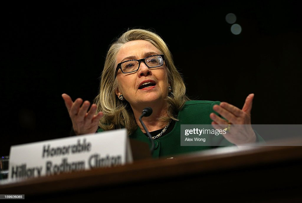 U.S. Secretary of State <a gi-track='captionPersonalityLinkClicked' href=/galleries/search?phrase=Hillary+Clinton&family=editorial&specificpeople=76480 ng-click='$event.stopPropagation()'>Hillary Clinton</a> testifies before the Senate Foreign Relations Committee on Capitol Hill January 23, 2013 in Washington, DC. Lawmakers questioned Clinton about the security failures during the September 11 attacks against the U.S. mission in Benghazi, Libya, that led to the death of four Americans, including U.S. Ambassador Christopher Stevens.