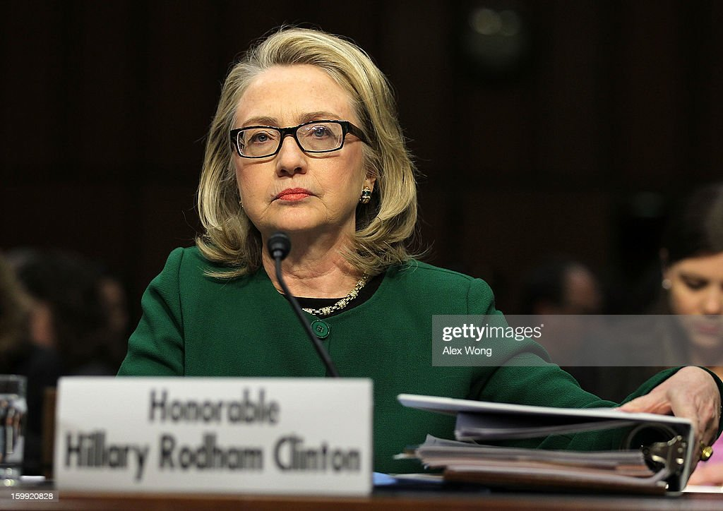 U.S. Secretary of State <a gi-track='captionPersonalityLinkClicked' href=/galleries/search?phrase=Hillary+Clinton&family=editorial&specificpeople=76480 ng-click='$event.stopPropagation()'>Hillary Clinton</a> testifies before the Senate Foreign Relations Committee about the September 11 attacks against the U.S. mission in Benghazi, Libya, on Capitol Hill January 23, 2013 in Washington, DC. Lawmakers questioned Clinton about the security failures that led to the death of four Americans, including U.S. Ambassador Christopher Stevens.