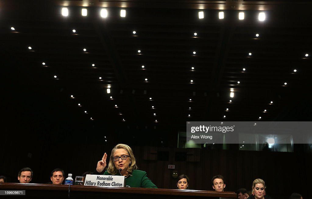 U.S. Secretary of State Hillary Clinton testifies before the Senate Foreign Relations Committee about the September 11 attacks against the U.S. mission in Benghazi, Libya, on Capitol Hill January 23, 2013 in Washington, DC. Lawmakers questioned Clinton about the security failures that led to the death of four Americans, including U.S. Ambassador Christopher Stevens.