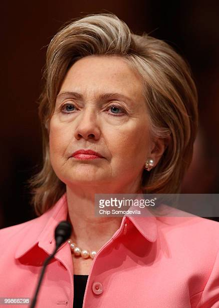 S Secretary of State Hillary Clinton testifies before the Senate Foreign Relations Committee about the new START treaty on Capitol Hill May 18 2010...