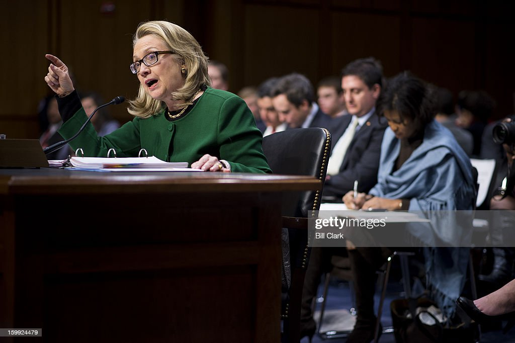 Secretary of State <a gi-track='captionPersonalityLinkClicked' href=/galleries/search?phrase=Hillary+Clinton&family=editorial&specificpeople=76480 ng-click='$event.stopPropagation()'>Hillary Clinton</a> testifies during the Senate Foreign Relations Committee hearing on the September 11th attacks against the U.S. mission in Benghazi on Wednesday morning, January 23, 2013.