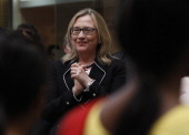 US Secretary of State Hillary Clinton watches a performance during an AntiHuman Trafficking event in Kolkata on May 6 2012 US Secretary of State...