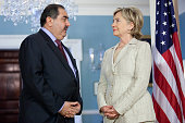 S Secretary of State Hillary Rodham Clinton and Iraqi Foreign Minister Hoshyar Zebari speak to the media before holding a bilateral meeting at the...