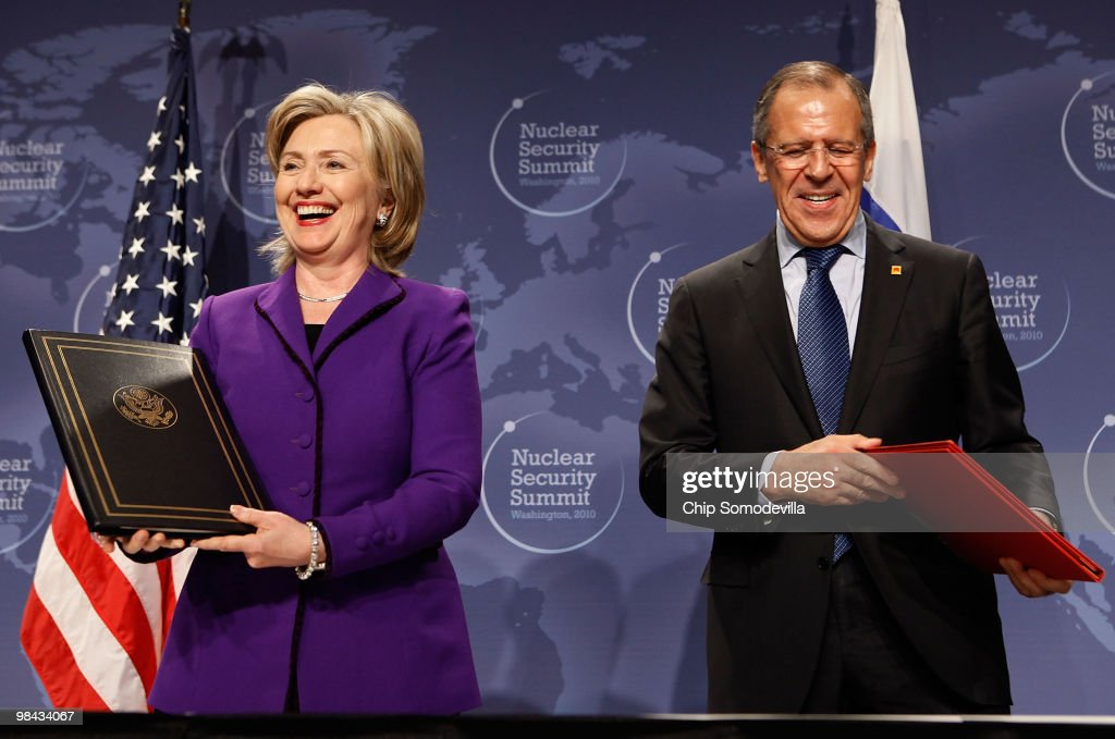 U.S. Secretary of State Hillary Rodham Clinton (L) and Russian Foreign Minister Sergey Lavrov smile after signing an agreement on eliminating excess weapon-grade plutonium from their defense programs during the Nuclear Safety Summit at the Washington Convention Center April 13, 2010 in Washington, DC. Clinton said the irreversable process of desposing of each countries excess weapon-grade plutonium, enough material for several thousand nuclear weapons, will prevent it from falling into the hands of terrorists.