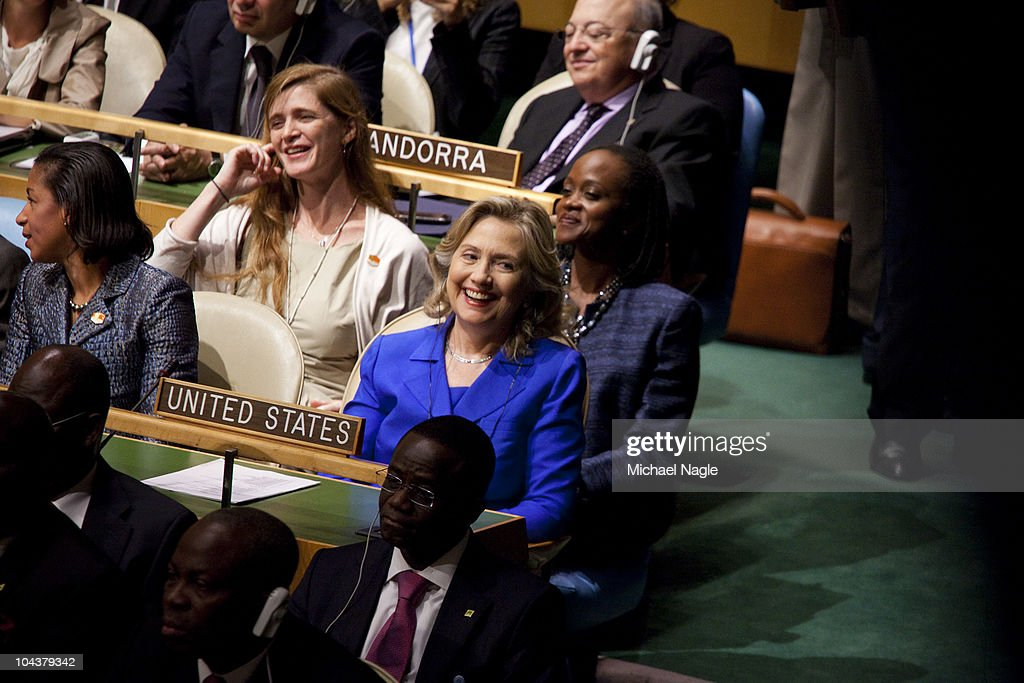 U.S. Secretary of State Hillary Rodham Clinton (C) and U.S. Ambassador to the United Nations <a gi-track='captionPersonalityLinkClicked' href=/galleries/search?phrase=Susan+Rice&family=editorial&specificpeople=5458775 ng-click='$event.stopPropagation()'>Susan Rice</a> (L) listen to U.S. President Barack Obama address world leaders during the General Assembly at the United Nations on September 23, 2010 in New York City. The annual gathering looks to highlight pressing global problems of war, poverty and environmental degradation.