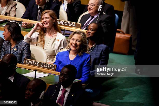 S Secretary of State Hillary Rodham Clinton and US Ambassador to the United Nations Susan Rice listen to US President Barack Obama address world...