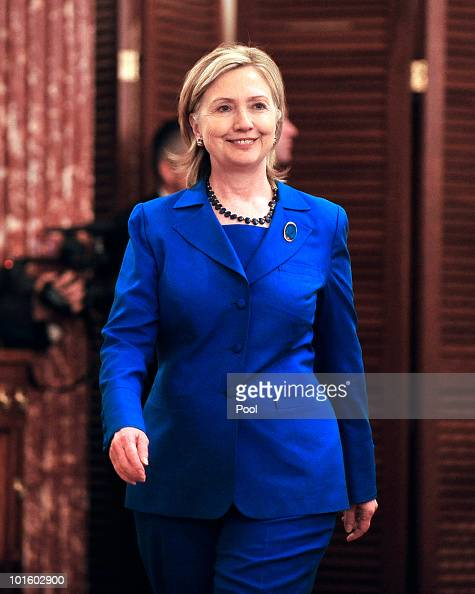 S Secretary of State Hillary Rodham Clinton attends a reception in honor of Foreign Minister SM Krishna of India at the State Department on June 3...