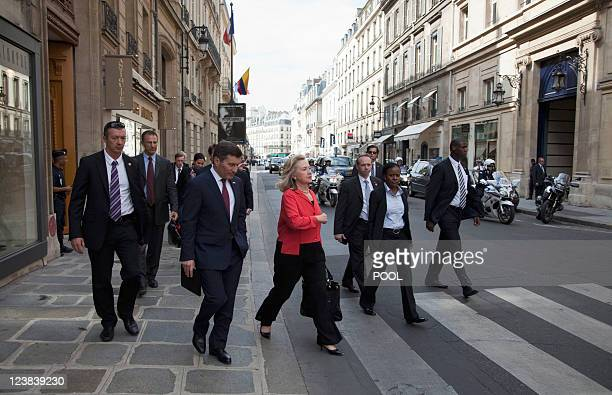 US Secretary of State Hillary Rodham Clinton leaves the Elysee Palace after a meeting with French President Nicolas Sarkozy on September 1 in Paris...