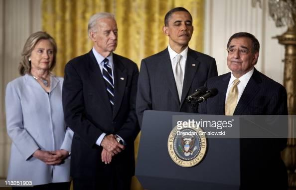 Secretary of State Hillary Rodham Clinton Vice President Joseph R Biden and President Barack Obama listen while the new Secretary of Defense nominee...