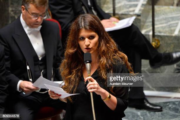 Secretary of State in charge of Equality between Women and Men Marlene Schiappa answers deputies during the weekly questions to the government at...