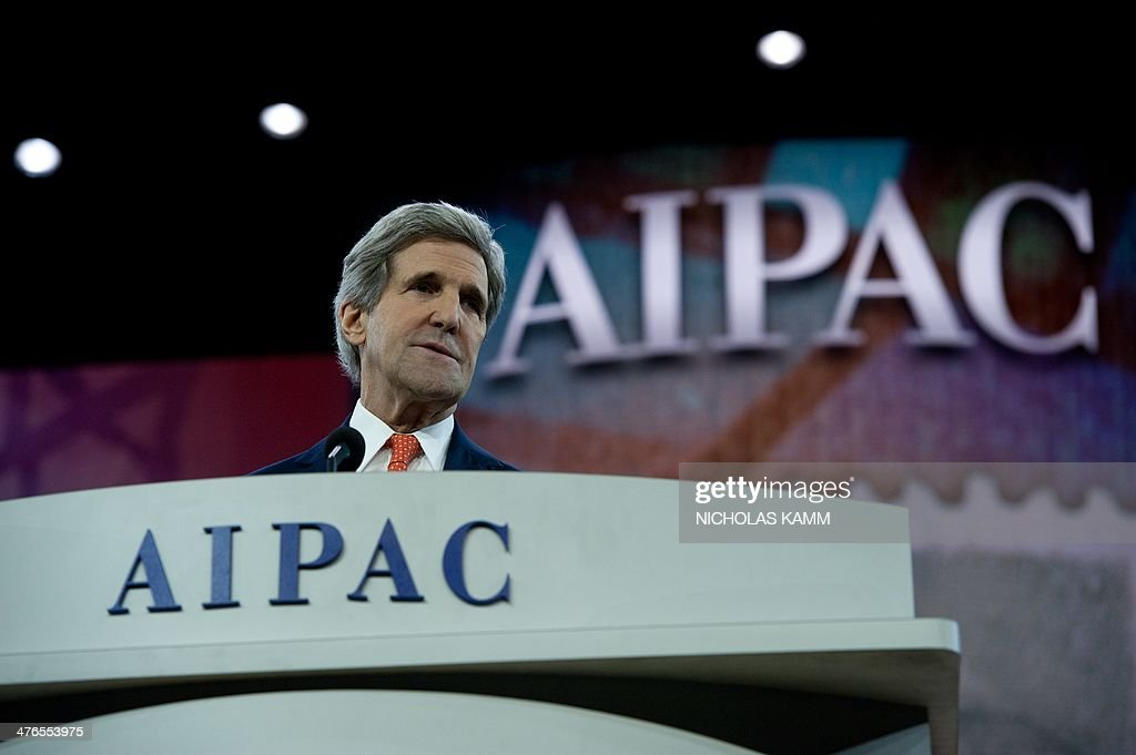 US Secretary of State John Kerry addresses the American Israel Public Affairs Committee (AIPAC) policy conference in Washington on March 3, 2014. AFP PHOTO/Nicholas KAMM