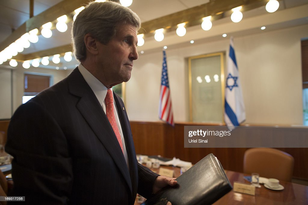 US Secretary of State <a gi-track='captionPersonalityLinkClicked' href=/galleries/search?phrase=John+Kerry&family=editorial&specificpeople=154885 ng-click='$event.stopPropagation()'>John Kerry</a> ahead of his meeting with Israeli Prime Minister Benjamin Netanyahu on May 23, 2013 in Jerusalem, Israel. This is Kerry's fourth visit to the country in the past two months and British Foreign Secretary William Hague is due to meet him to renew peace talks between Israel and Palestine.