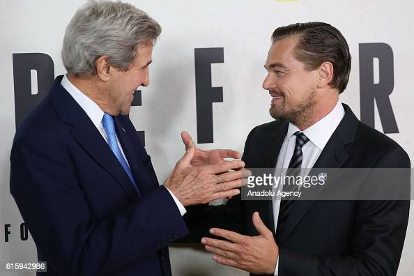 Secretary of State John Kerry and actor Leonardo DiCaprio attend the National Geographic Channel 'Before the Flood' screening at United Nations...