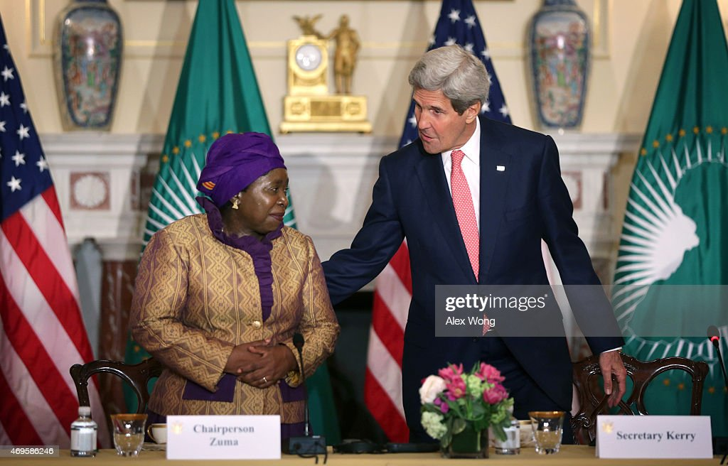 U.S. Secretary of State <a gi-track='captionPersonalityLinkClicked' href=/galleries/search?phrase=John+Kerry&family=editorial&specificpeople=154885 ng-click='$event.stopPropagation()'>John Kerry</a> (R) and African Union Commission Chairperson Nkosazana Dlamini Zuma (L) arrive at the opening of the African Union Commission High Level Dialogue April 13, 2015 at the State Department in Washington, DC. Kerry and Dlamini Zuma signed a Memorandum of Cooperation, through which the U.S. CDC will provide technical expertise to the African Union to support establishing an African Surveillance and Response Unit and an Emergency Operations Center within the African CDC.