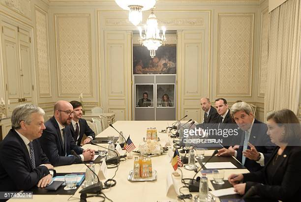 US Secretary of State John Kerry and Assistant Secretary of State for European and Eurasian Affairs at the United States Department of State Victoria...