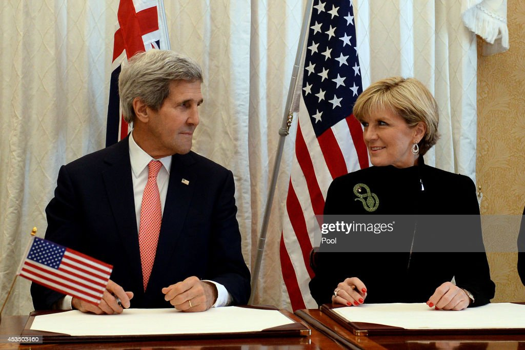 US Secretary of State <a gi-track='captionPersonalityLinkClicked' href=/galleries/search?phrase=John+Kerry&family=editorial&specificpeople=154885 ng-click='$event.stopPropagation()'>John Kerry</a> and Australian Foreign Minister <a gi-track='captionPersonalityLinkClicked' href=/galleries/search?phrase=Julie+Bishop&family=editorial&specificpeople=1198450 ng-click='$event.stopPropagation()'>Julie Bishop</a> sign a Force Posture Agreement during the AUSMIN talks at Admiralty House on August 12, 2014 in Sydney, Australia. US Secretary of State <a gi-track='captionPersonalityLinkClicked' href=/galleries/search?phrase=John+Kerry&family=editorial&specificpeople=154885 ng-click='$event.stopPropagation()'>John Kerry</a> and Defence Secretary Chuck Hagel are meeting with their Australian counterparts Australian Foreign Minister <a gi-track='captionPersonalityLinkClicked' href=/galleries/search?phrase=Julie+Bishop&family=editorial&specificpeople=1198450 ng-click='$event.stopPropagation()'>Julie Bishop</a> and Australian Defence Minister David Johnston at the annual Australia-United States Ministerial Consultations (AUSMIN), which will focus on regional security and enhanced military co-operation.