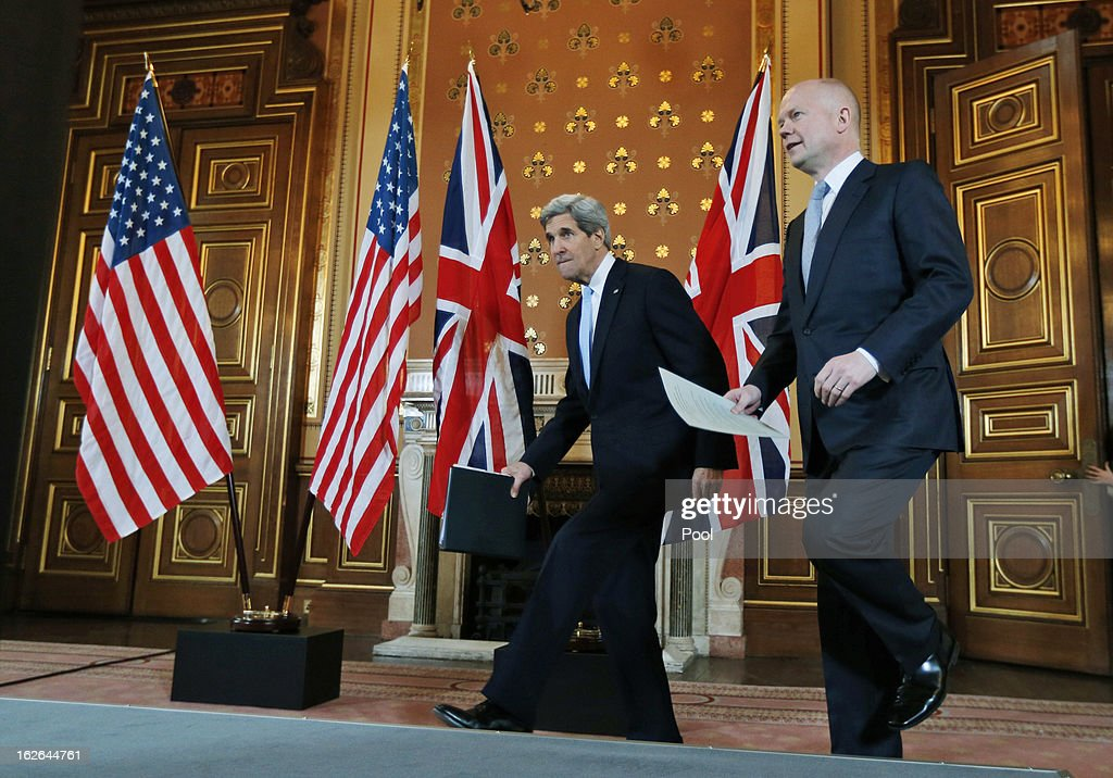 U.S. Secretary of State John Kerry (L) and British Foreign Secretary William Hague arrive for a joint news conference after a meeting February 25, 2013 in in London, England. Kerry, during his firest overseas trip as U.S. Secretary of State, is on an 11-day tour that will bring him to Berlin, Paris, Rome, Ankara, Cairo, Riyadh, Abu Dhabi and Doha.