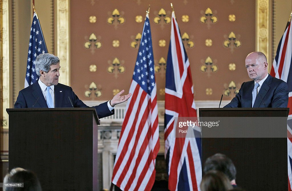 U.S. Secretary of State <a gi-track='captionPersonalityLinkClicked' href=/galleries/search?phrase=John+Kerry&family=editorial&specificpeople=154885 ng-click='$event.stopPropagation()'>John Kerry</a> (L) and British Foreign Secretary <a gi-track='captionPersonalityLinkClicked' href=/galleries/search?phrase=William+Hague&family=editorial&specificpeople=206295 ng-click='$event.stopPropagation()'>William Hague</a> hold a joint news conference after a meeting February 25, 2013 in in London, England. Kerry, during his first overseas trip as U.S. Secretary of State, is on an 11-day tour that will bring him to Berlin, Paris, Rome, Ankara, Cairo, Riyadh, Abu Dhabi and Doha.