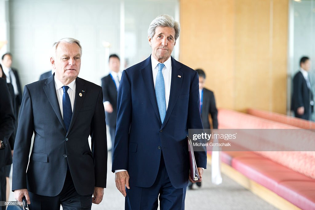 US Secretary of State <a gi-track='captionPersonalityLinkClicked' href=/galleries/search?phrase=John+Kerry&family=editorial&specificpeople=154885 ng-click='$event.stopPropagation()'>John Kerry</a> (R) and Canada's Foreign Minister John Russell Baird attend a working session at the G7 Foreign Ministers Summit on April 11, 2016 in Hiroshima, Japan.