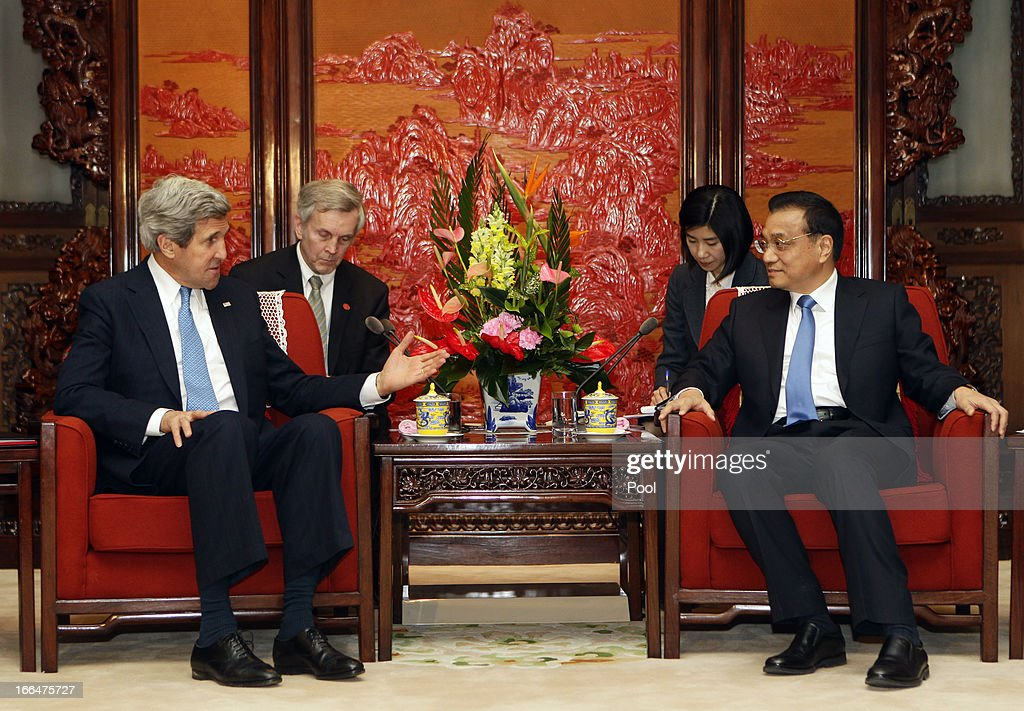 U.S. Secretary of State <a gi-track='captionPersonalityLinkClicked' href=/galleries/search?phrase=John+Kerry&family=editorial&specificpeople=154885 ng-click='$event.stopPropagation()'>John Kerry</a> (L) and China's Premier <a gi-track='captionPersonalityLinkClicked' href=/galleries/search?phrase=Li+Keqiang&family=editorial&specificpeople=2481781 ng-click='$event.stopPropagation()'>Li Keqiang</a> attend a meeting at Zhongnanhai compound on April 13, 2013 in Beijing, China. Kerry is on a tour of Asia, visiting South Korea, China and Japan and will discuss issues surrounding North Korea.
