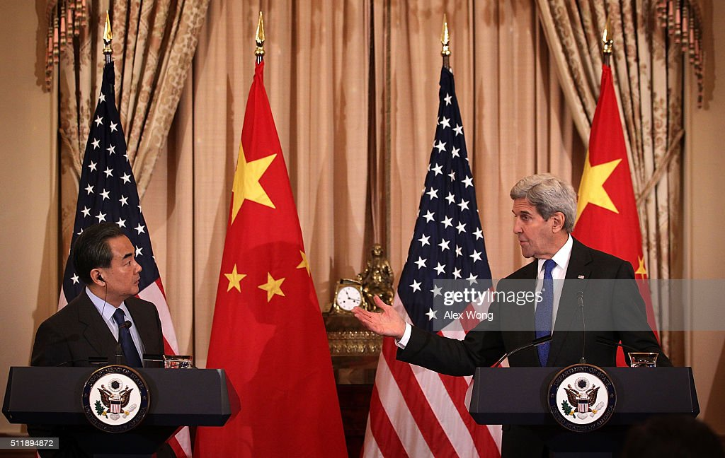 U.S. Secretary of State <a gi-track='captionPersonalityLinkClicked' href=/galleries/search?phrase=John+Kerry&family=editorial&specificpeople=154885 ng-click='$event.stopPropagation()'>John Kerry</a> (R) and Chinese Foreign Minister <a gi-track='captionPersonalityLinkClicked' href=/galleries/search?phrase=Wang+Yi+-+Politician&family=editorial&specificpeople=13620429 ng-click='$event.stopPropagation()'>Wang Yi</a> (L) participate in a joined news conference at the State Department February 23, 2016 in Washington, DC. Foreign Minister Wang is on a three-day visit to Washington.
