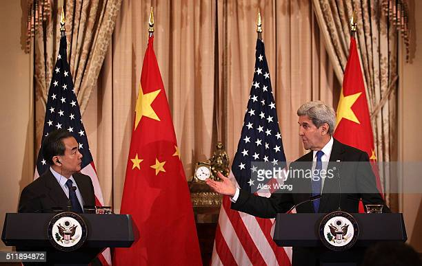 S Secretary of State John Kerry and Chinese Foreign Minister Wang Yi participate in a joined news conference at the State Department February 23 2016...