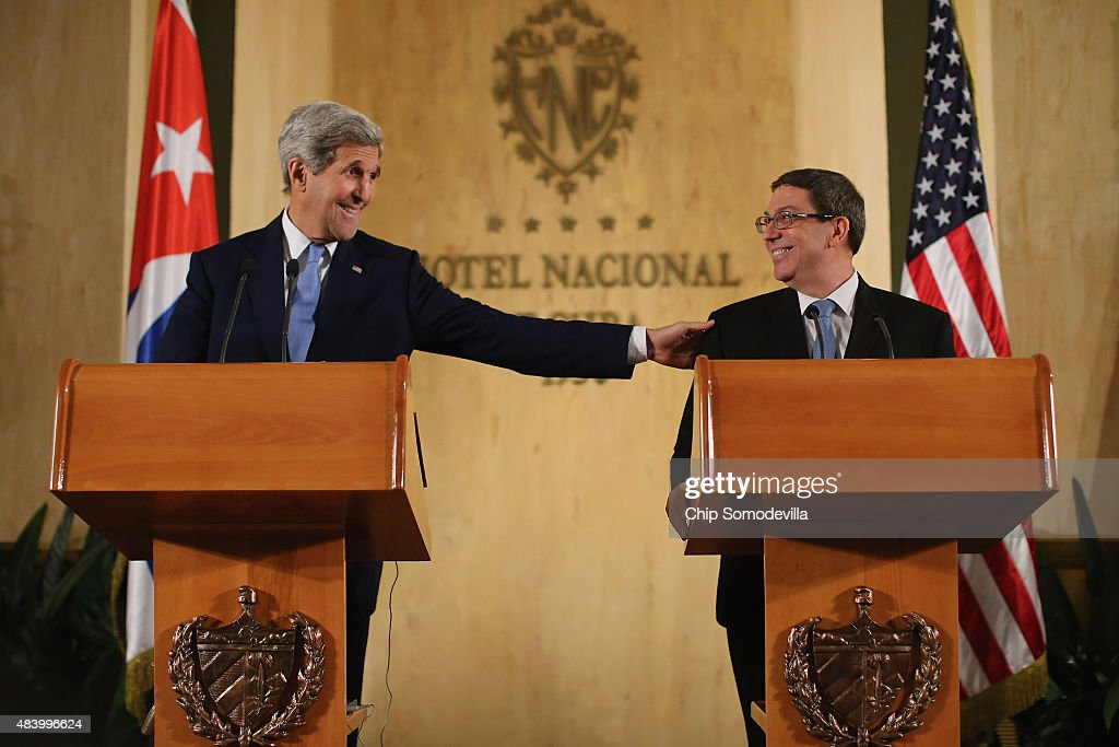 U.S. Secretary of State <a gi-track='captionPersonalityLinkClicked' href=/galleries/search?phrase=John+Kerry&family=editorial&specificpeople=154885 ng-click='$event.stopPropagation()'>John Kerry</a> (L) and Cuban Minister of Foreign Affairs Bruno Rodriguez Parrilla hold a joint news conference at the Hotel Nacional August 14, 2015 in Havana, Cuba. The first American secretary of state to visit Cuba since 1945, Kerry presided over the flag-raising ceremony at the recently reopened U.S. Embassy, a symbolic act after the the two Cold War enemies reestablished diplomatic relations in July.