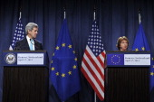 Secretary of State John Kerry and EU Foreign Policy Chief Catherine Ashton speak during a press conference at the Intercontinental hotel on April 17...
